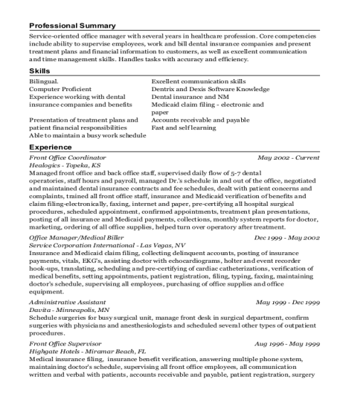 Front Office Coordinator resume format New Mexico