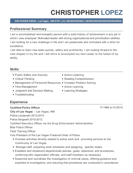 Certified Police Officer resume sample New Mexico