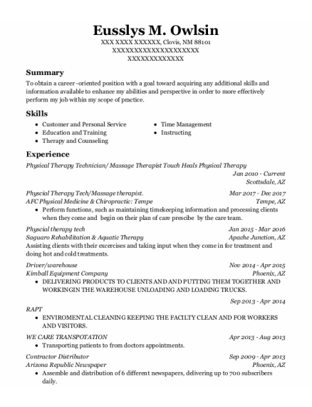 Physical Therapy Technician resume format New Mexico