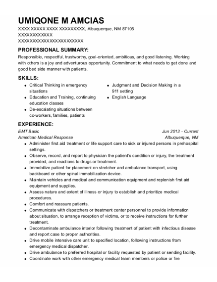 Emt Basic resume format New Mexico