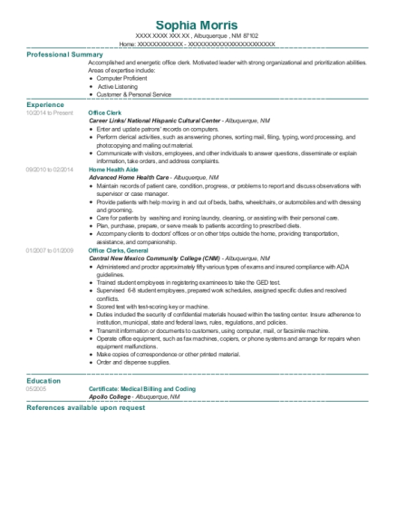 Office Clerk resume sample New Mexico