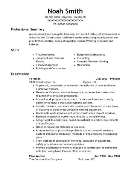 Foreman resume format New Mexico