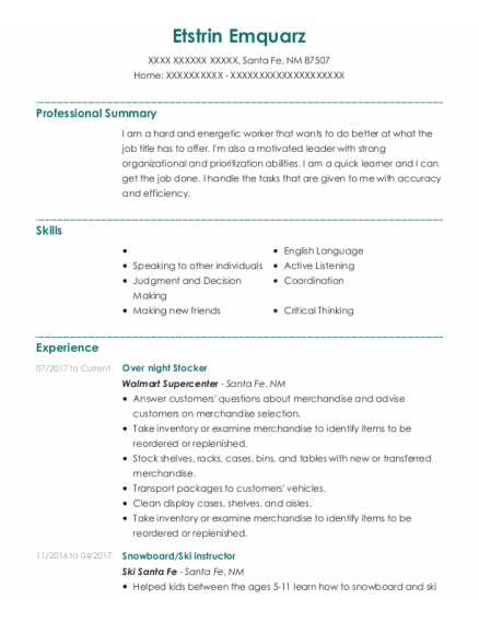 Over Night Stocker resume template New Mexico