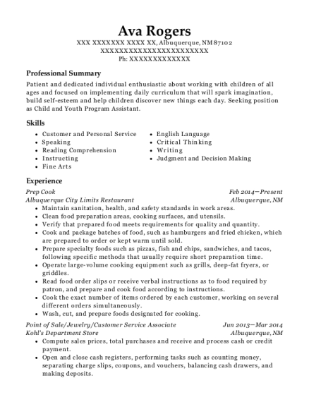 Prep Cook resume template New Mexico