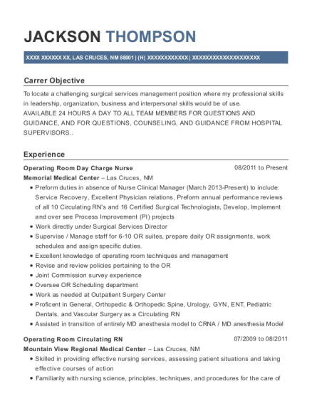 Operating Room Day Charge Nurse resume template New Mexico