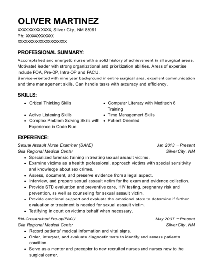 Sexual Assault Nurse Examiner resume template New Mexico