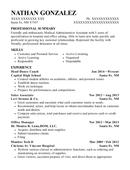 Head Dance Coach resume format New Mexico