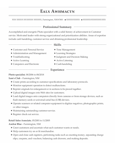 Photo Specialist resume template New Mexico
