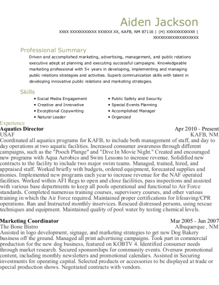 Aquatics Director resume template New Mexico