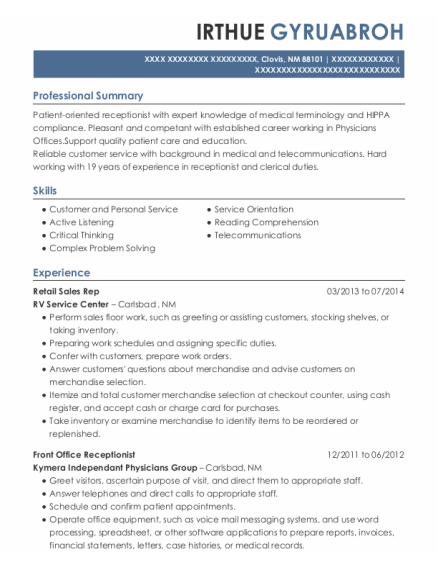 Retail Sales Rep resume example New Mexico