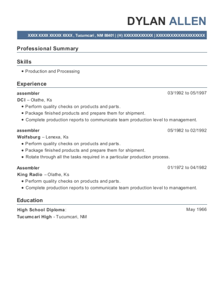 Assembler resume template New Mexico