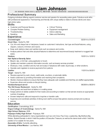 Cosmetologist resume example New Mexico