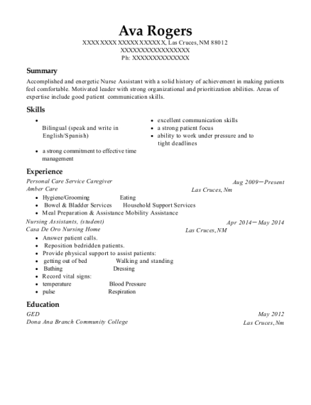 Personal Care Service Caregiver resume format New Mexico