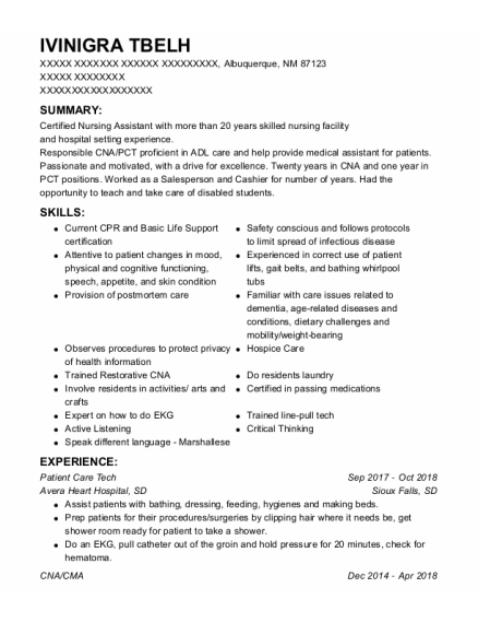 Patient Care Tech resume template New Mexico