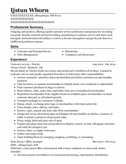Customer service resume template New Mexico