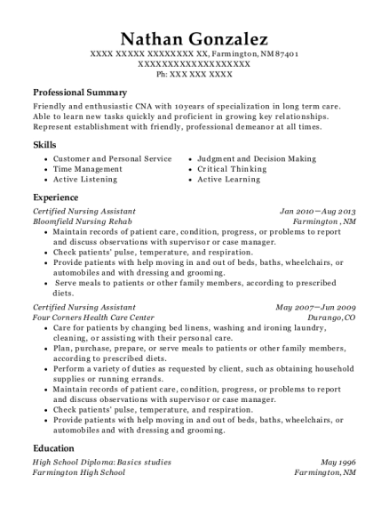 Certified Nursing Assistant resume sample New Mexico