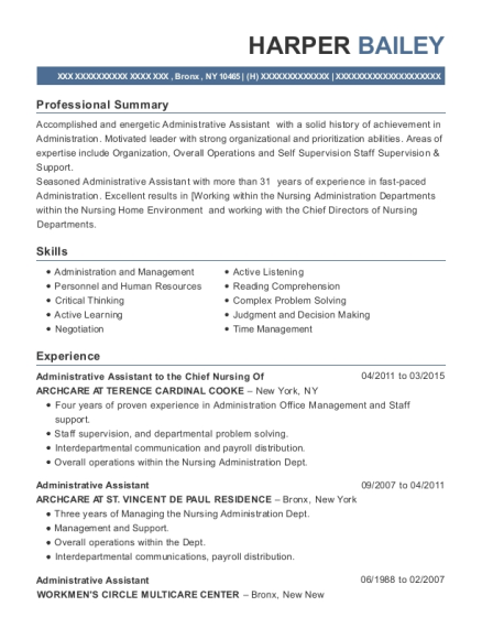 Administrative Assistant to the Chief Nursing Of resume sample New York