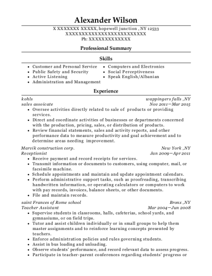 sales assoicate resume example New York