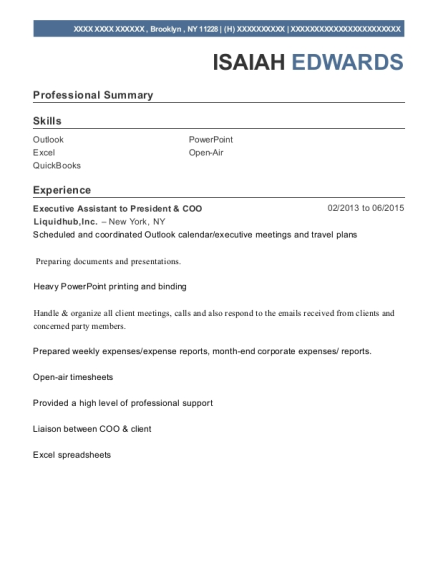 Executive Assistant to President & COO resume example New York
