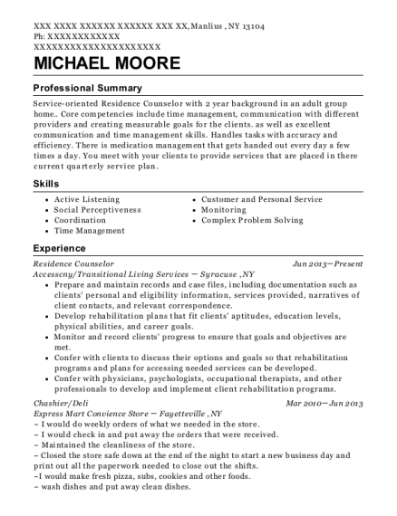 Residence Counselor resume template New York