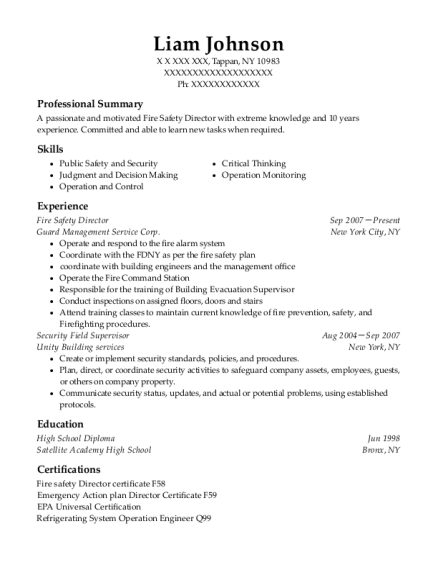 Fire Safety Director resume sample New York
