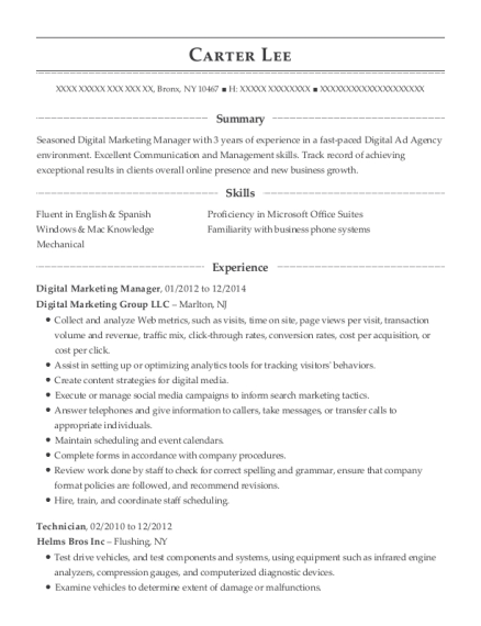 Digital Marketing Manager resume format New York
