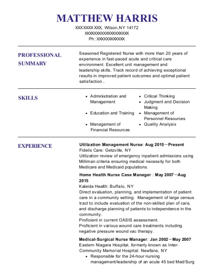 Utilization Management Nurse resume example New York