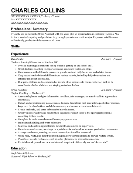 Bus Monitor resume template New York