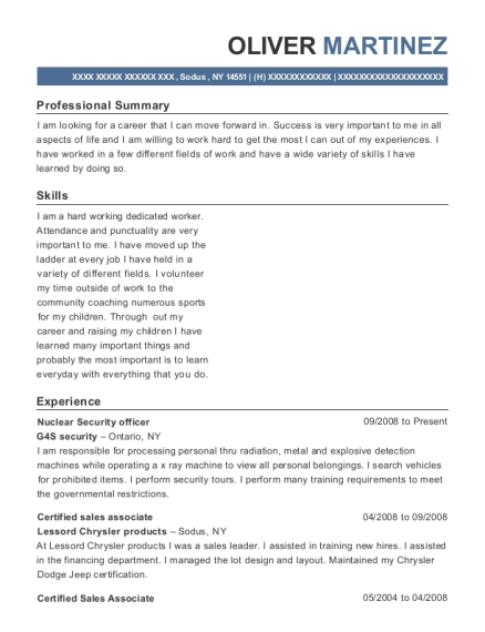 Nuclear Security officer resume template New York