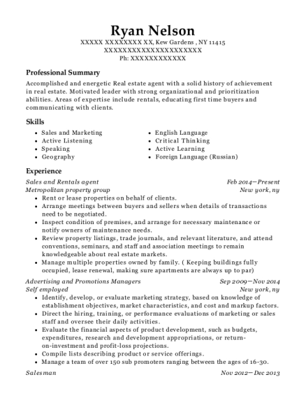 Sales and Rentals agent resume sample New York