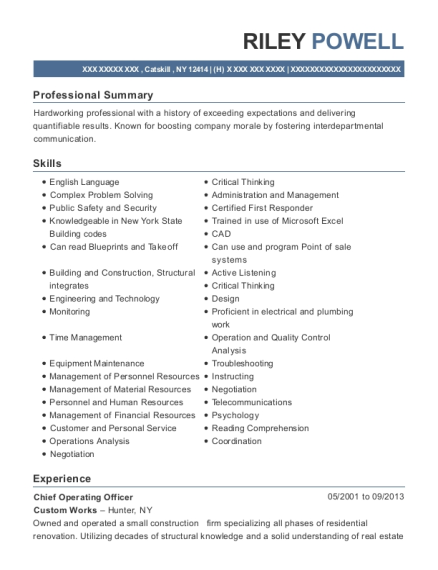 Chief Operating Officer resume sample New York