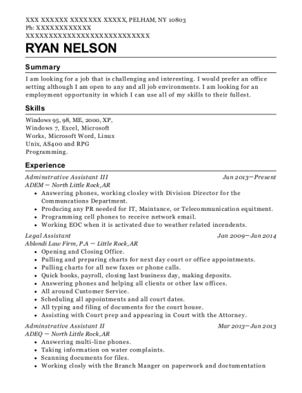 Adminstrative Assistant III resume example New York