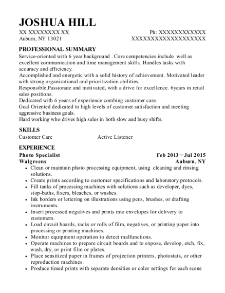 Photo Specialist resume template New York