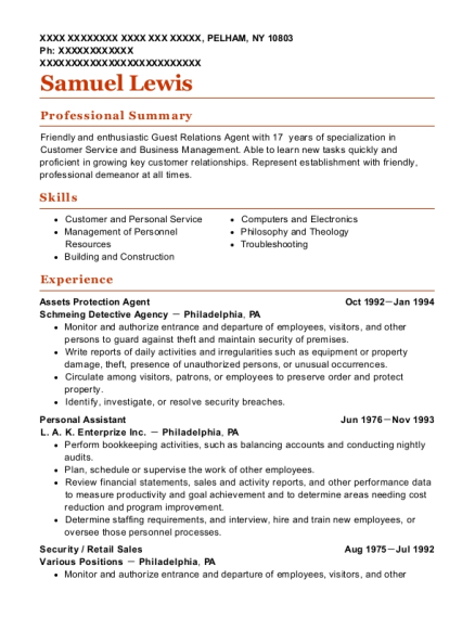 Assets Protection Agent resume sample New York