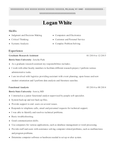 Graduate Research Assistant resume template New York