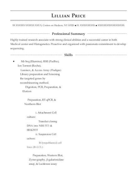 RESEARCH AND DEVELOPMENT resume sample New York