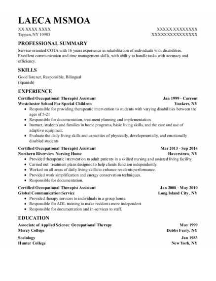 Certified Occupational Therapist Assistant resume template New York