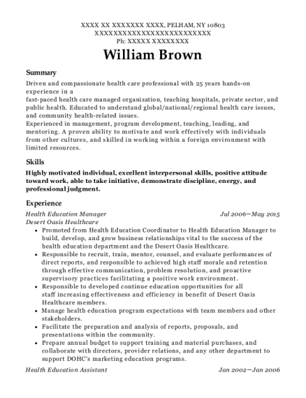 Health Education Manager resume format New York