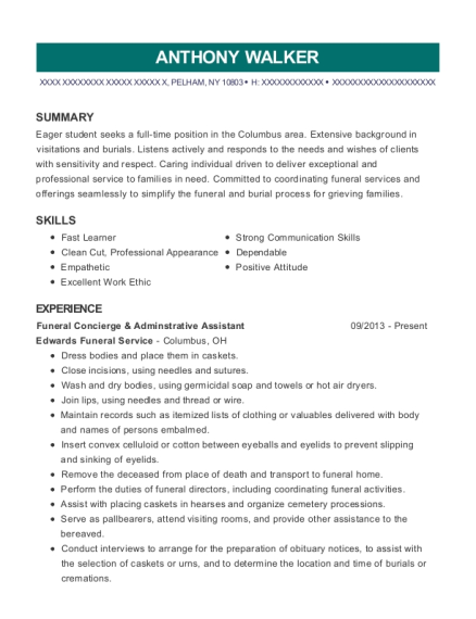 Funeral Concierge & Adminstrative Assistant resume template New York