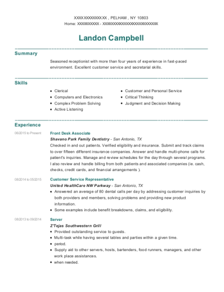 Front Desk Associate resume template New York