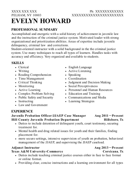 Juvenile Probation Officer resume example New York