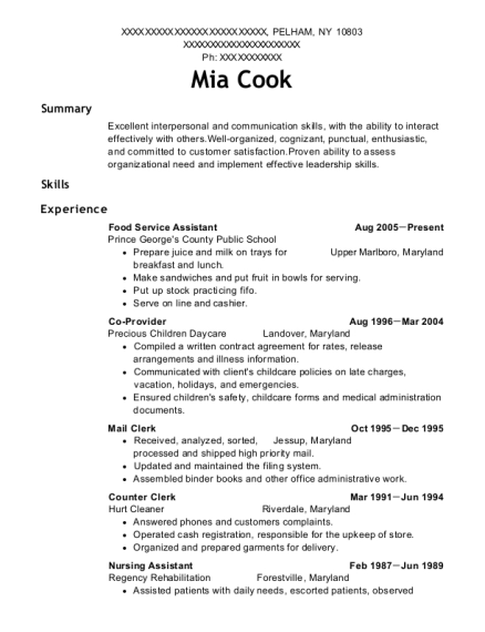 Food Service Assistant resume template New York