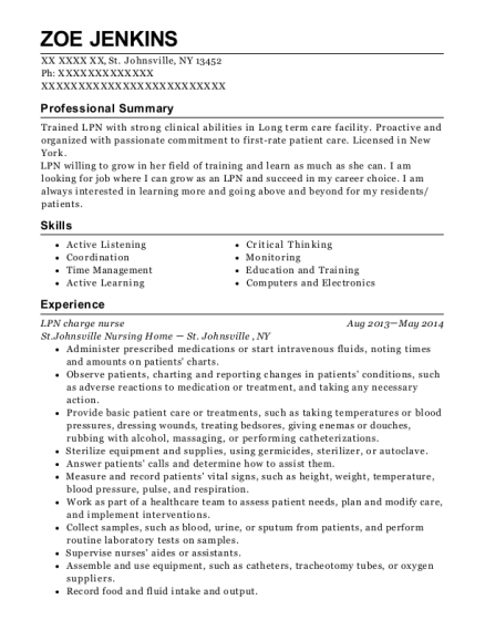 LPN charge nurse resume sample New York