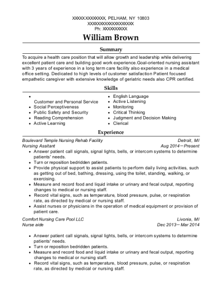 Nursing Assitant resume sample New York