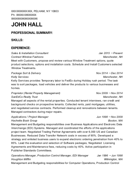 Sales & Installation Consultant resume template New York