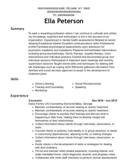 Counselor resume template New York