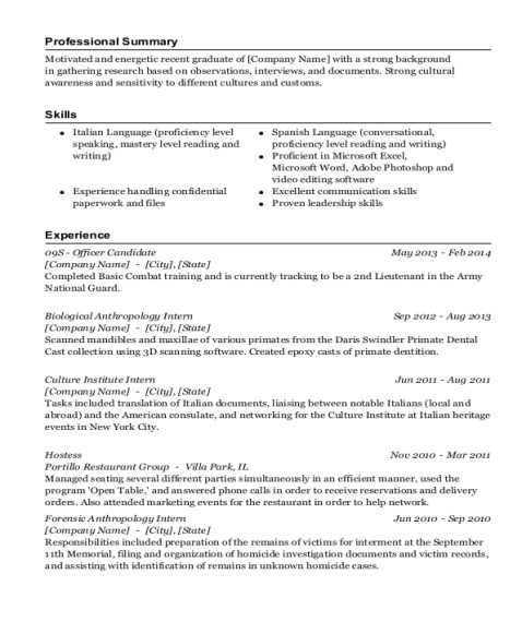 09S Officer Candidate resume sample New York