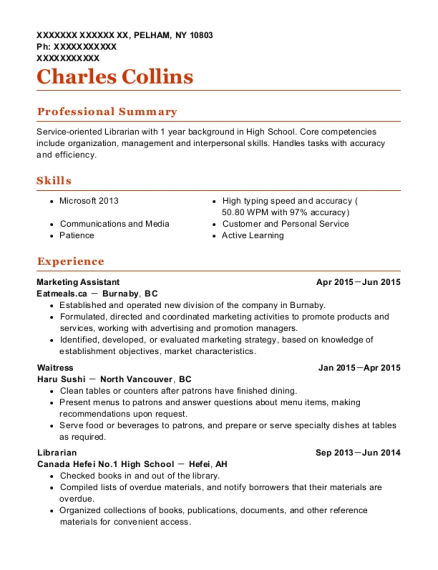 Marketing Assistant resume example New York