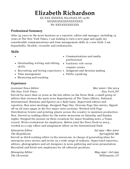The New York Times Assistant News Editor Resume Sample