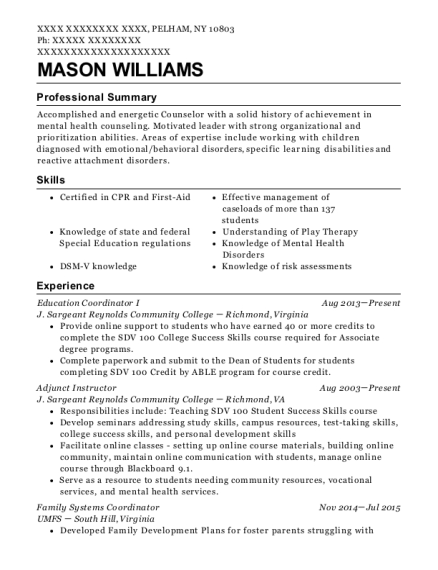 Education Coordinator I resume sample New York